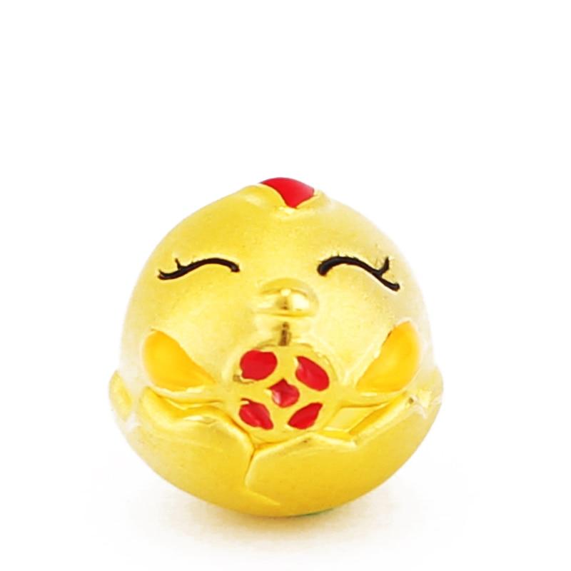 3D Yellow Gold Zodiac chicken pendant cute Transport bead pure gold pendant pure 24k yellow gold 100% natural jadeite zodiac chicken pendant