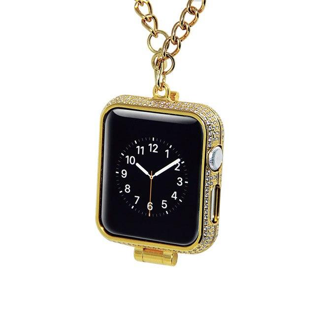 Di lusso di bling diamanti di strass incrostato 24kt carati placcato oro gioielli collana della vigilanza della copertura di caso per Apple osservare series1 & 2 e 3 - 6