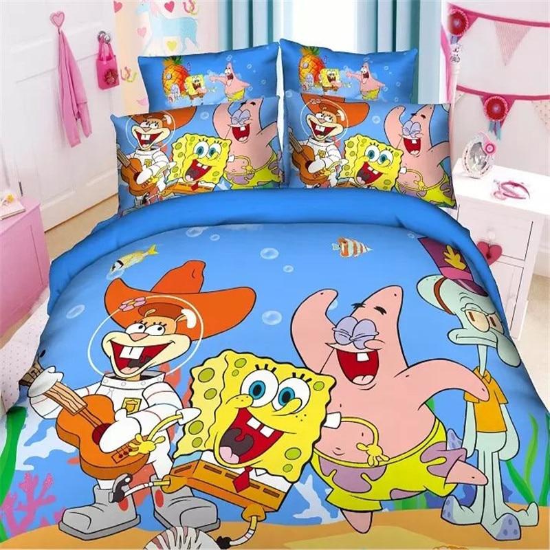 popular 3d spongebob boys twinsingle size bedding set of duvet cover bed sheet pillow - Spongebob Bedroom Set