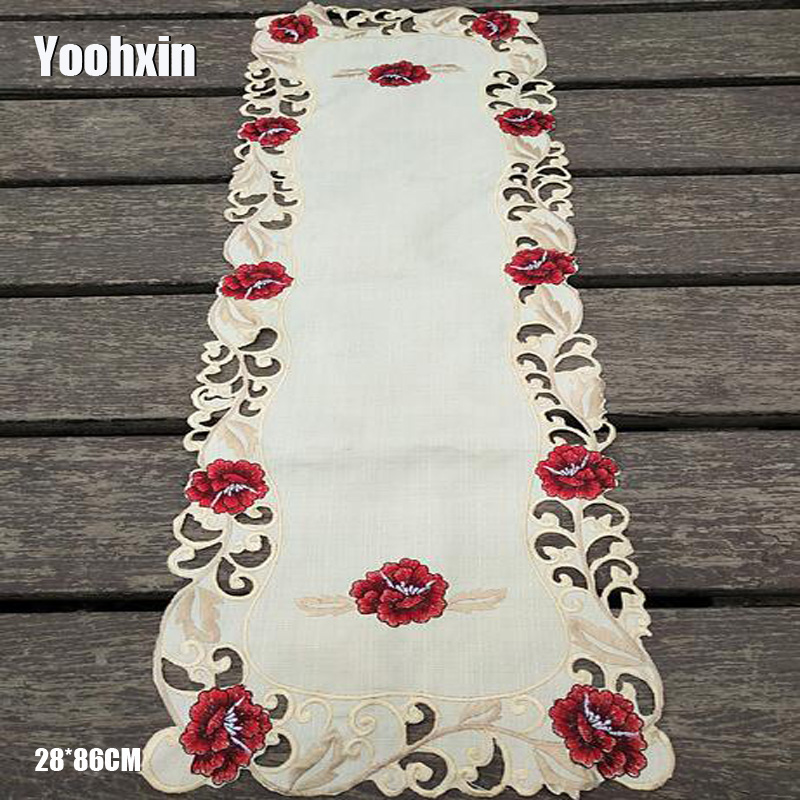 28*86cm New Satin Lace Embroidery Bed Table Runner Cloth Cover Flag Dining Tea Coffee Tablecloth Christmas Party Wedding Decor
