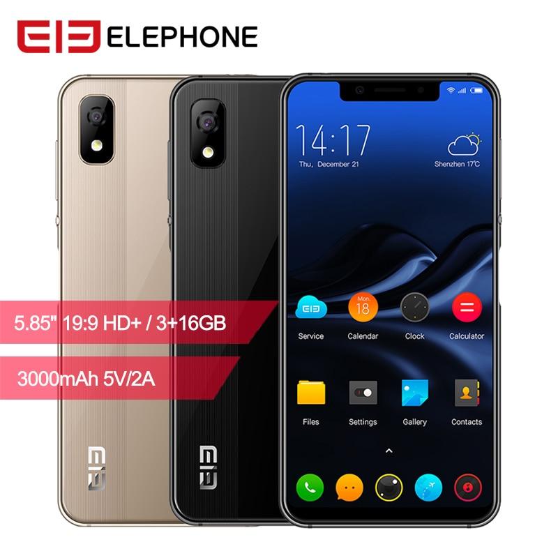 Elephone A4 смартфон 5,85 18:9 Face ID Android 8,1 3 ГБ + 16 Гб MTK6739 четырехъядерный отпечаток пальца 8MP Cam 4G LTE мобильный телефон OTG