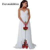 Простой Спагетти ремень High Low невесты платья шифоновое платье для Свадебная вечеринка Пляж Свадебный Гость платье vestido madrinha