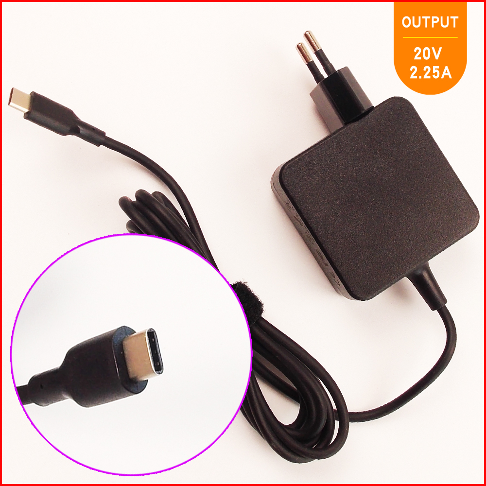 20V 2.25A Laptop Ac Adapter Charger USB-C Type-C for Lenovo ThinkPad 13 20GJ/20GK/20J1,X270 T470 T470s 20v 4 5a 90w adlx90ndc2a 36200285 45n0243 45n0244 laptop ac adapter for lenovo thinkpad x1 carbon series touch ultrabook