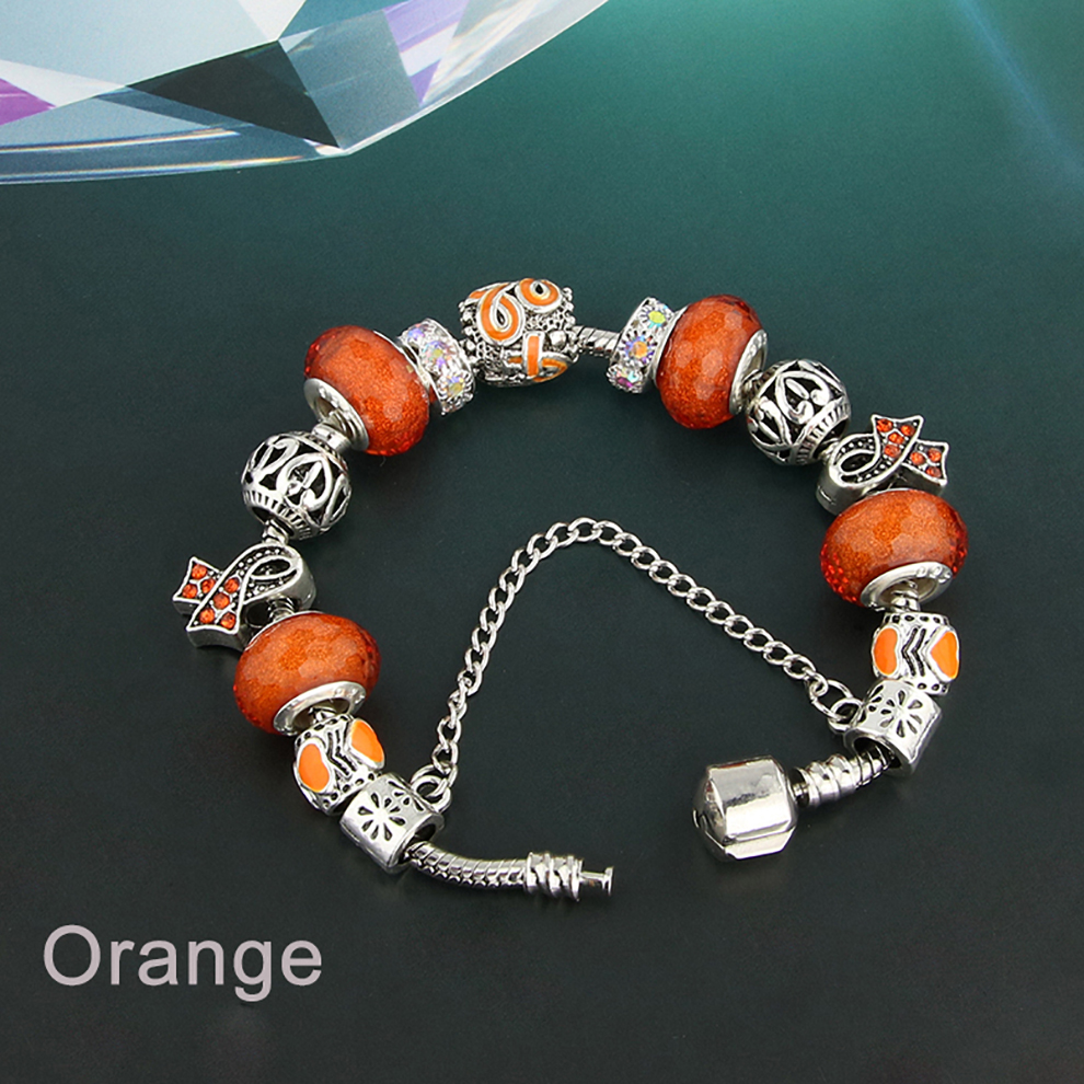 Glass Bead Charm Bracelet - orange