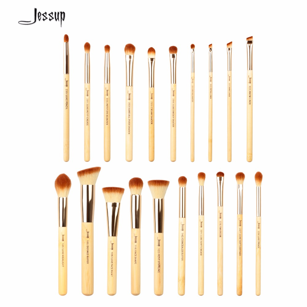 2017 New Jessup 20pcs Beauty Bamboo Professional Makeup Brushes Set Makeup Brush Tools kit Foundation Powder Brushes T145