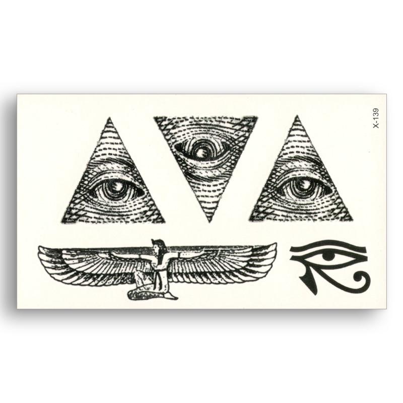 Egypt Triangle Eye Wings Totem Water Transfer Fake Tattoos Waterproof Temporary Stickers Male Female Cool Beauty Body Art