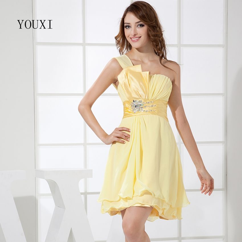 Sexy Strapless Yellow Prom Dresses 2017 Hot Chiffon Short Cocktail Party Dress For Women ...