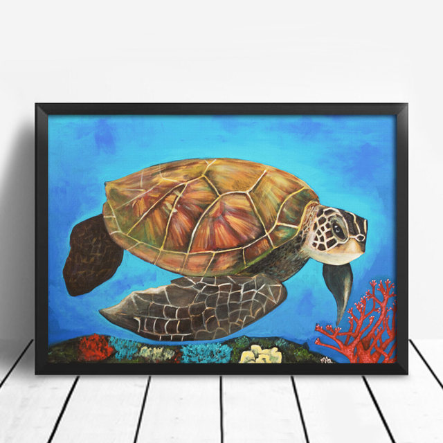 Watercolor Sea Turtle Wall Art Prints And Posters Canvas Painting Pictures  For Living Room Tortoise Kidu0027s Decoration Home Decor