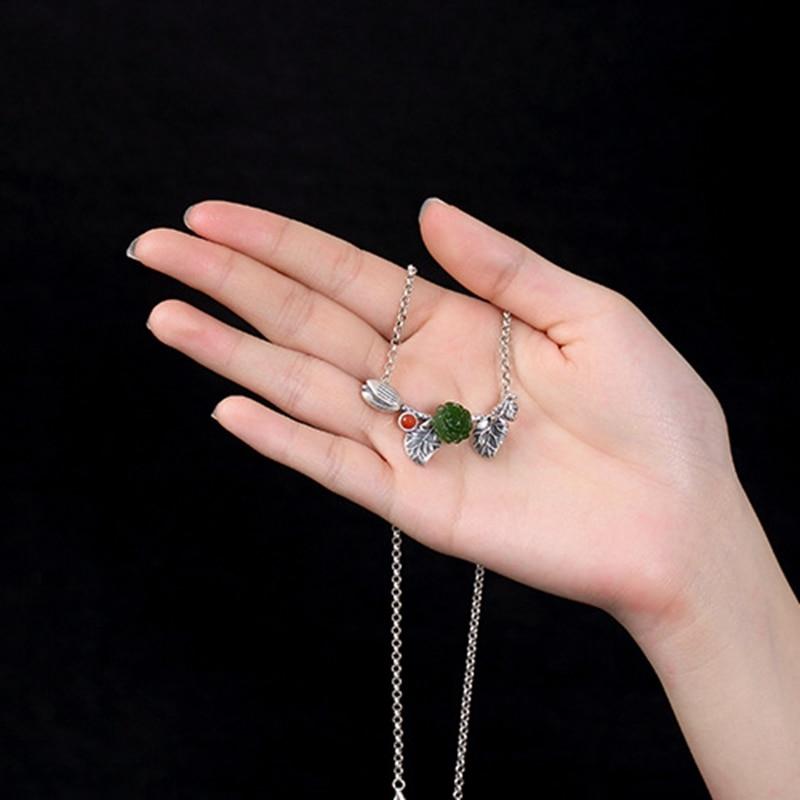 LouLeur стерлингового серебра 925 нефрита ожерелье ручной работы розы цветы природных агат, яшма jade Подвески ожерелье для женщин ювелирные изде...