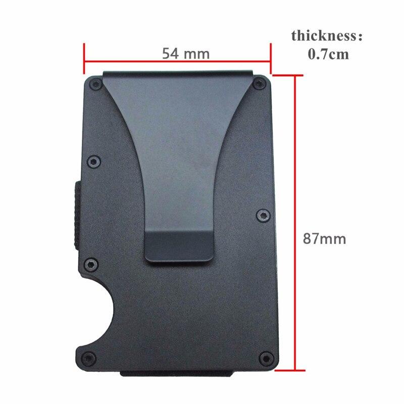 Купить с кэшбэком QOONG RFID Blocking Slim Metal Credit Card Holder Travel Mini Wallet Men Women Cardholder Porte Carte Male Card Case KH1-016