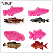 Silicone Fish Mold - Food Safe Chocolate Candy Fondant Ice Mold Flexible Soap Candle Wax Resin Polymer Clay Mold,Fish Mold