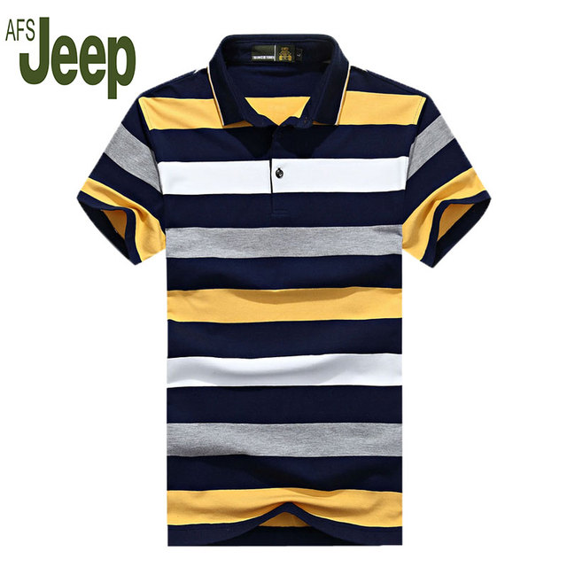 2016 АФН JEEP Battlefield Джип летом новый мужской с коротким рукавом рубашки поло мужской с коротким рукавом в полоску поло рубашка лацкане Мужчины 55