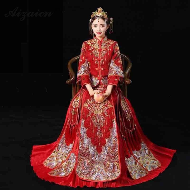 Red Chinese Traditional Wedding Dress Qipao Embroidery Cheongsam Long Bride Slim Pleated Skirt Qi Pao Oriental Robe Chinoise