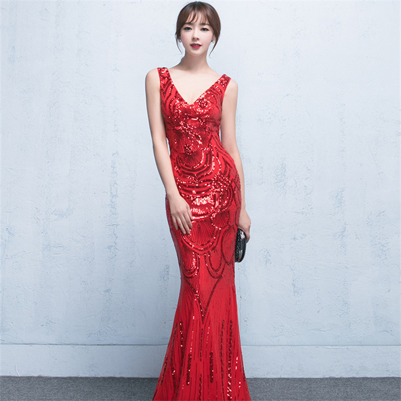 It's Yiiya evening dresses Sequnied V-neck zipper back Prom dress Backless floor-length sleeveless Mermaid Party gowns C164