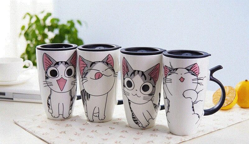 cat cartoon cat mug 4 pieces