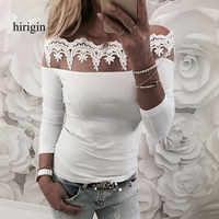 2018 Сексуальная кружевная блузка, рубашка, Женская белая блузка с длинным рукавом и цветочным принтом, женские топы, Элегантная модная блузк...