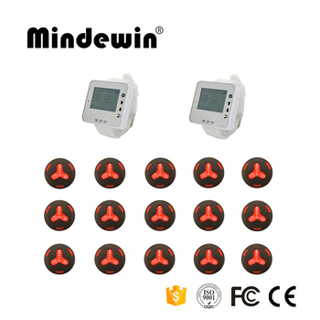 Mindewin 2017 Fashion Design Hospital Watch Pager 2pcs Wrist Watch + 15pcs Waterproof Call Button Nurse Wireless Calling