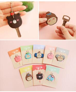 Lovely animal Key Chain Action Figure Collection Toy Key ring elephant little girl bear Bobble Head Q Edition Keychain Silica Ge