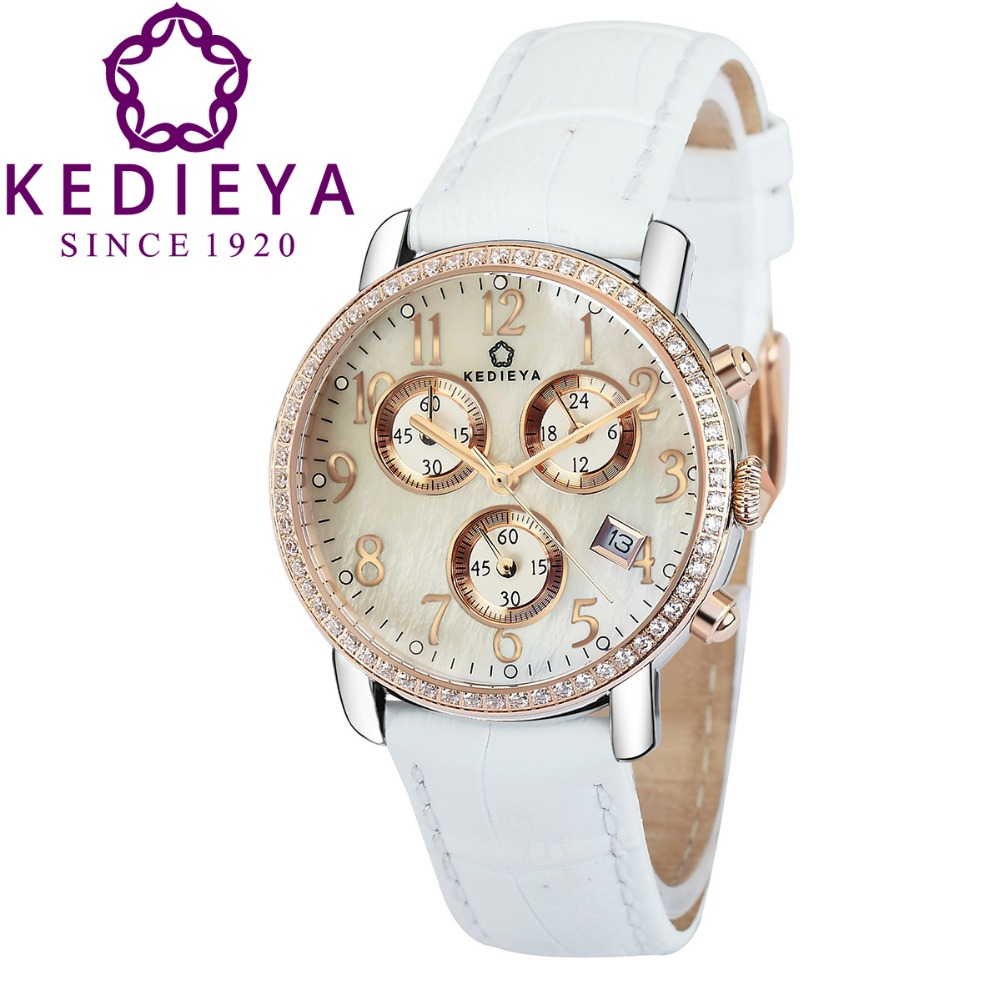 KEDIEYA Brands Rose Gold Plated Date Display Leather Steel Zircon Diamond Chronograph Sports Watches Women Watch