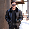 USAF A2 MenLeather Pilot Jacket Brown Wool Collar Thick Genuine Cowskin Slim Fit Plus Size XXXXL Men Winter Coat