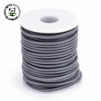 PVC Tubular Rubber Cord Wrapped Around White Plastic Spool Gray 3mm Hole 1 5mm