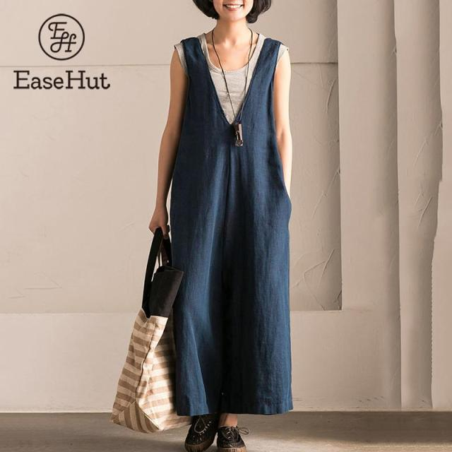 EaseHut Wide Leg Trousers Women Vintage Bib Overalls Sleeveless Strappy Dungarees Solid Loose Rompers Jumpsuits Pants Plus Size