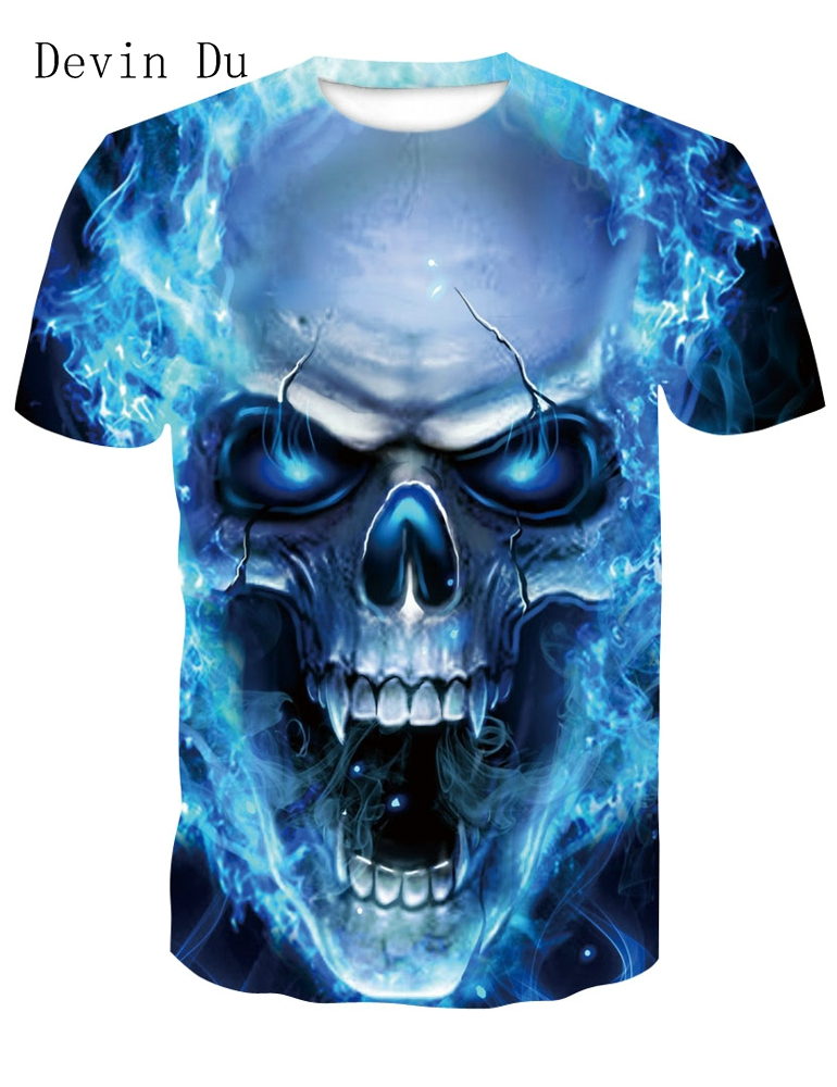 Devin Du 3D Men Tshirt 2018 New Fashion Hot Design 3D Skull Print Tees Tops Summer Cool High Street Wear Plus Size 4XL
