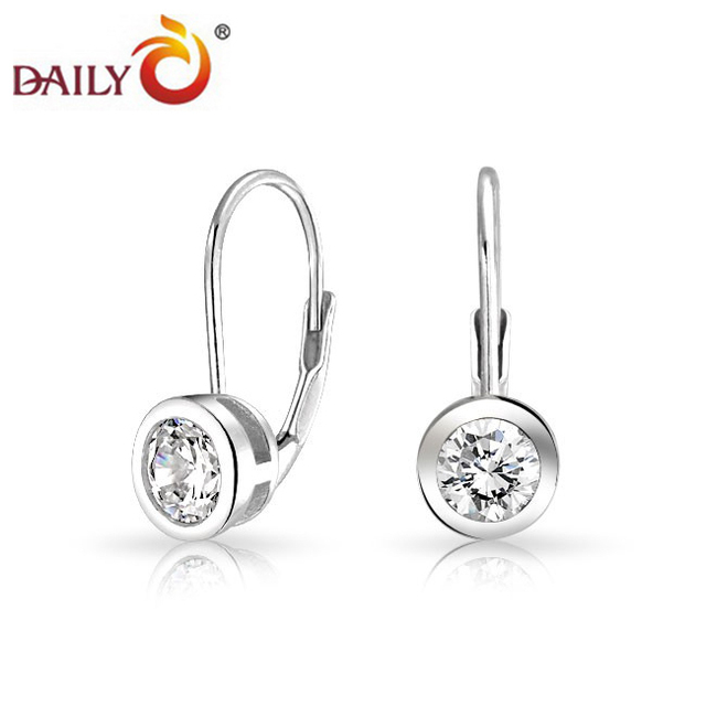 Silver Tone Women Earrings Bezel Setting Cz Diamond Rhodium Solitaire Wedding Earring Bridal Jewelry Fivestar Trendy