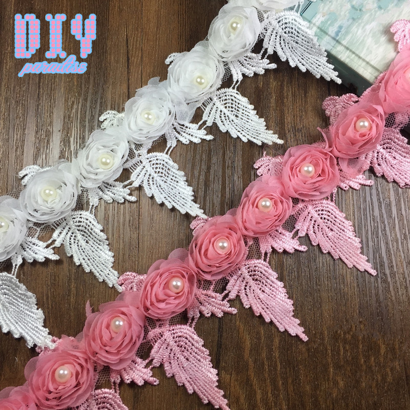 15yards Rose flower beads Chiffon Lace Trim Wedding Dress Bridal Lace Fabric DIY Craft Clothes Hair Accessories