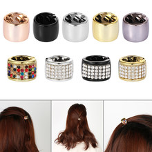 2019 Women Girls Elastic Ponytail Holder Hair Cuff Wrap Tie Band Hair Ring Crystal Punk Hair Ropes Unique Hair Accessories(China)