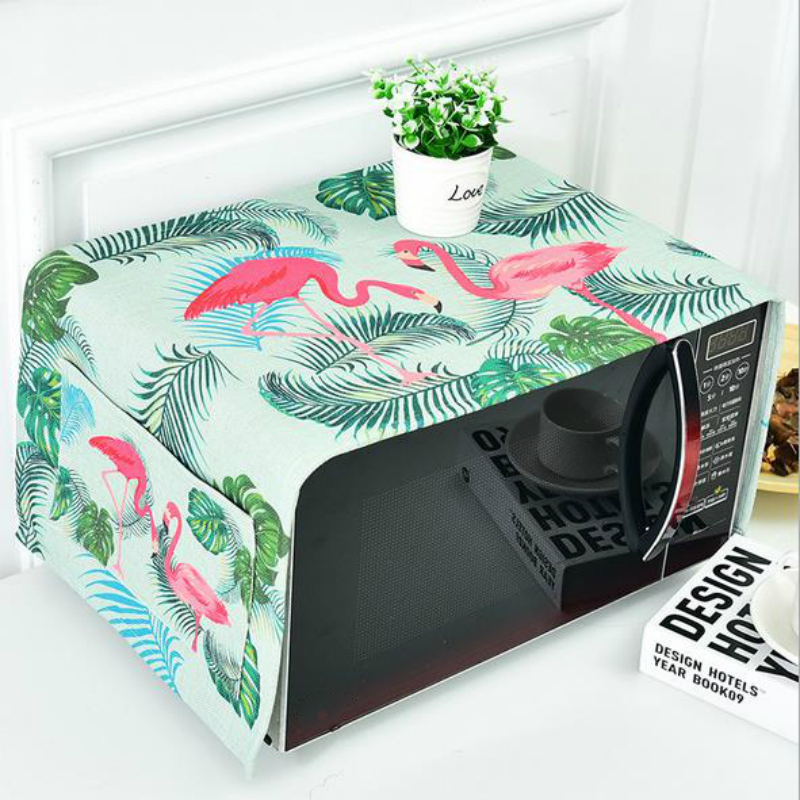 Flamingo Bird Creative Microwave Oven Dust Cover Proof Dual-purpose Kitchen Storage Bags Pouch 35*95cm 1PC