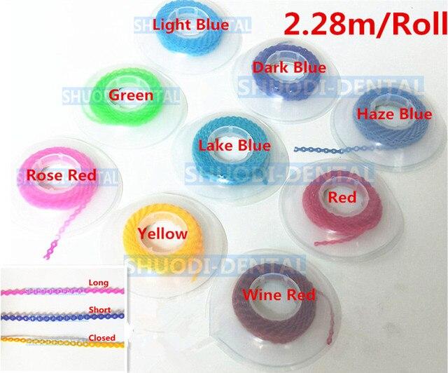 2,28 m/rollo instrumento Dental Ortodoncia de goma de cadena altamente resistente elástico bobina Multicolor tipo corto