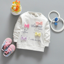 2017 New Spring Colorful Bow Baby Girls Pullover Cartoon Babies Girl Long Sleeve T-Shirt Casual Kids Tops Toddler Clothes ss102