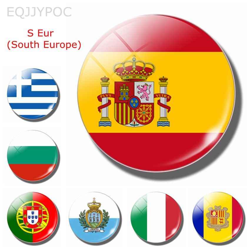 สเปน National Flag 30 มม.ตู้เย็นแม่เหล็กโปรตุเกสอิตาลีบัลแกเรีย S Eur Southern ยุโรปแก้วแม่เหล็กตู้เย็นสติกเกอร์หมายเหตุ