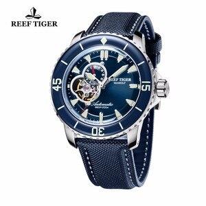 Image 2 - Resif Kaplan/RT Erkek Dalış Saatler Naylon Kayış Mavi kadranlı saatler Işık Otomatik İzle Tarih RGA3039