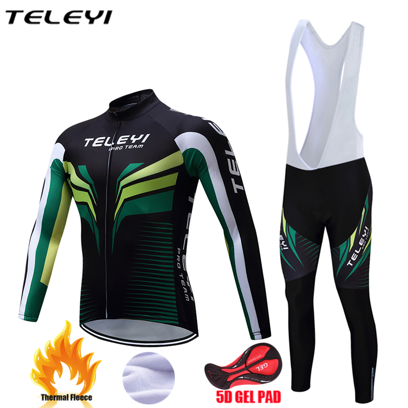 TELEYI 2017 Bicycle jersey for men Winter Long Sleeve Ropa Ciclismo bike outdoor 5D pad gel breathable cycling clothing WY12 teleyi men cycling jersey bike long sleeve outdoor bike jersey bicycle clothing wear breathable padded bib pants set s 4xl