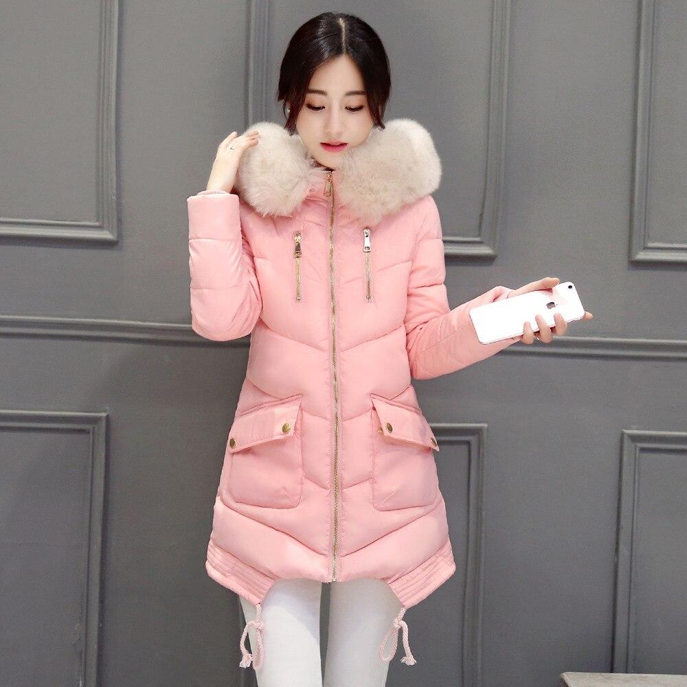 Kış Ceket Kadın Büyük Kürk Yaka Kapüşonlu Ceket Kalın Ceket Kadın Dış Giyim ParkaCoatscasacos Için de inverno feminino025