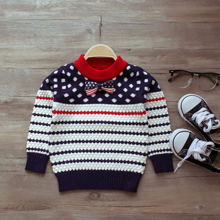 ab801cde793b Children s spring and autumn cashmere sweater boys and girls dot ...