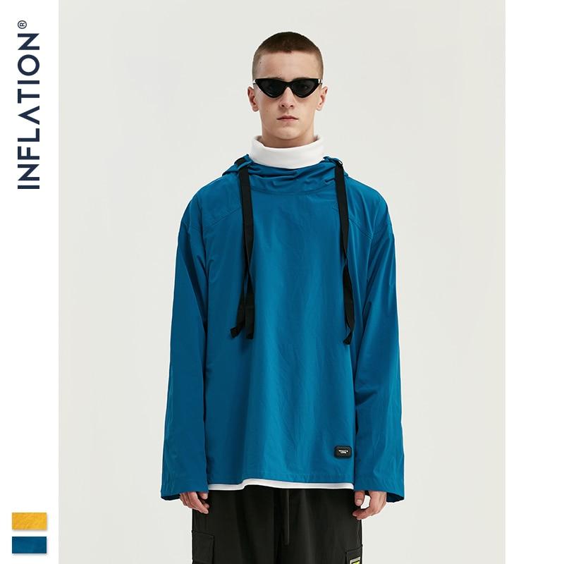 INFLATION 2019 Autumn Streetwear Thin Hoodies Mens Pure Color Hoodies Men Hip Hop Hoodies Pullover Man Clothing Hoodies 9702W