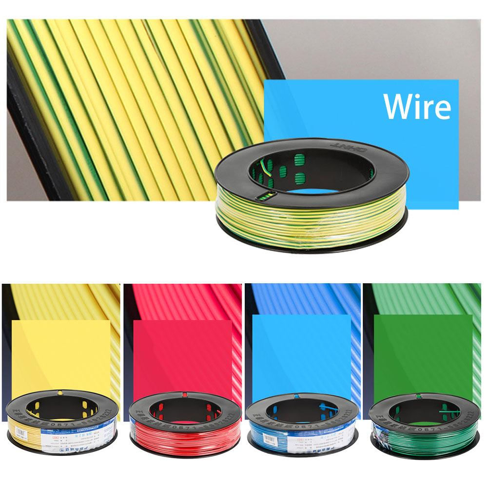 100M Wire Flexible Insulation Strand Single Core Hard Copper Wire BV1.5 Household High Temperature Resistant Lighting Wire