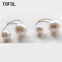 TOFOL Big Small Two Simulated Pearl Ring For Women U-shaped Opening Adjustable Rings Elegant Lovely Girls Fashion Jewelry Gift