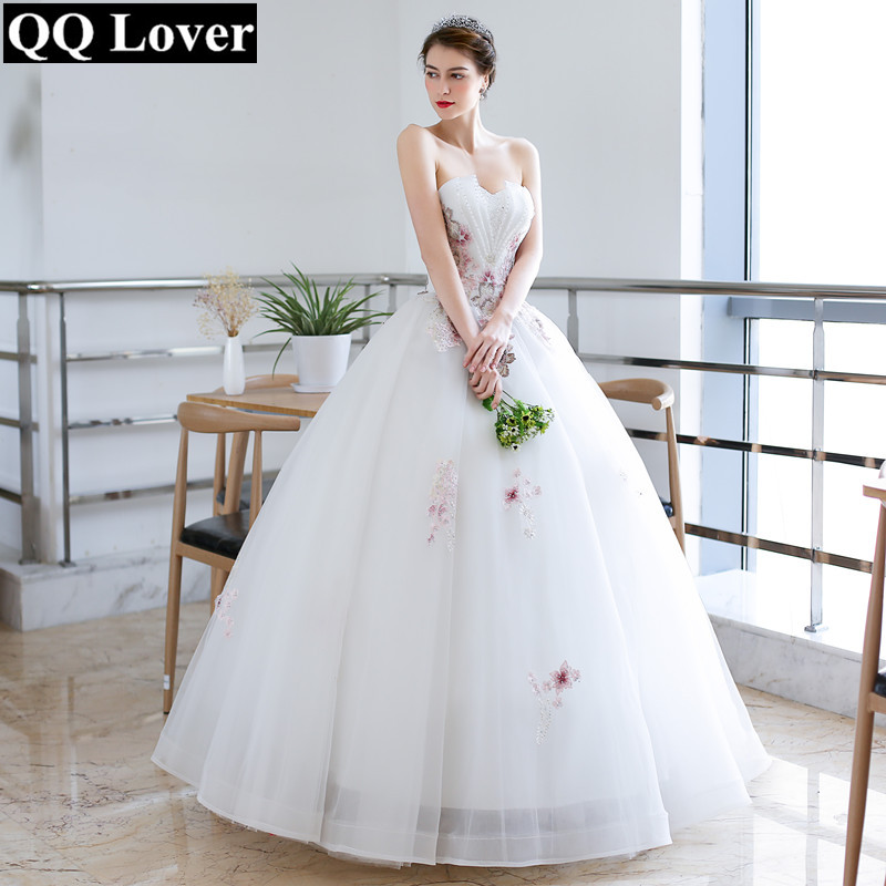 QQ Lover 2019  Colors Lace Ball Gown Wedding Dress Luxury Beading Plus Size Wedding Gown Bridal Gown