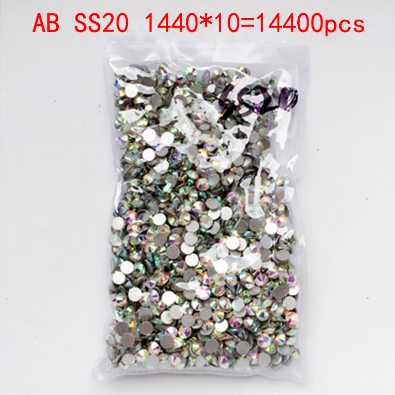 Wholesale Rhinestones New AB ss20 14400 pcs 4.8mm Crystal Color Non Hotfix Rhinestones For Nails Flatback Nail Art Decorations glitter flatback crystal resin rhinestones 2 6mm aquamarine ab color new design for nail art decorations stick drill non hotfix