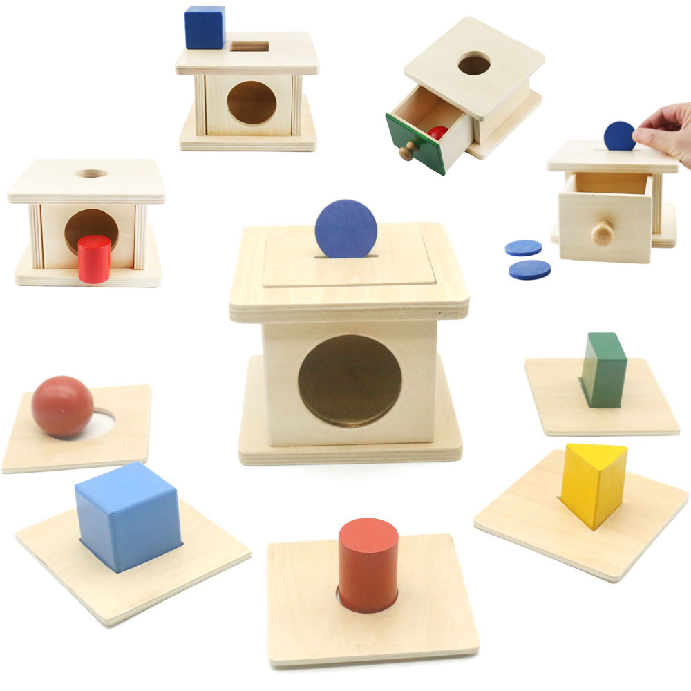 Montessori Coin Box Sensorial Materials For Toddlers Shape Baby Toys Educational Toys For Children Juguetes Montessori G0545H