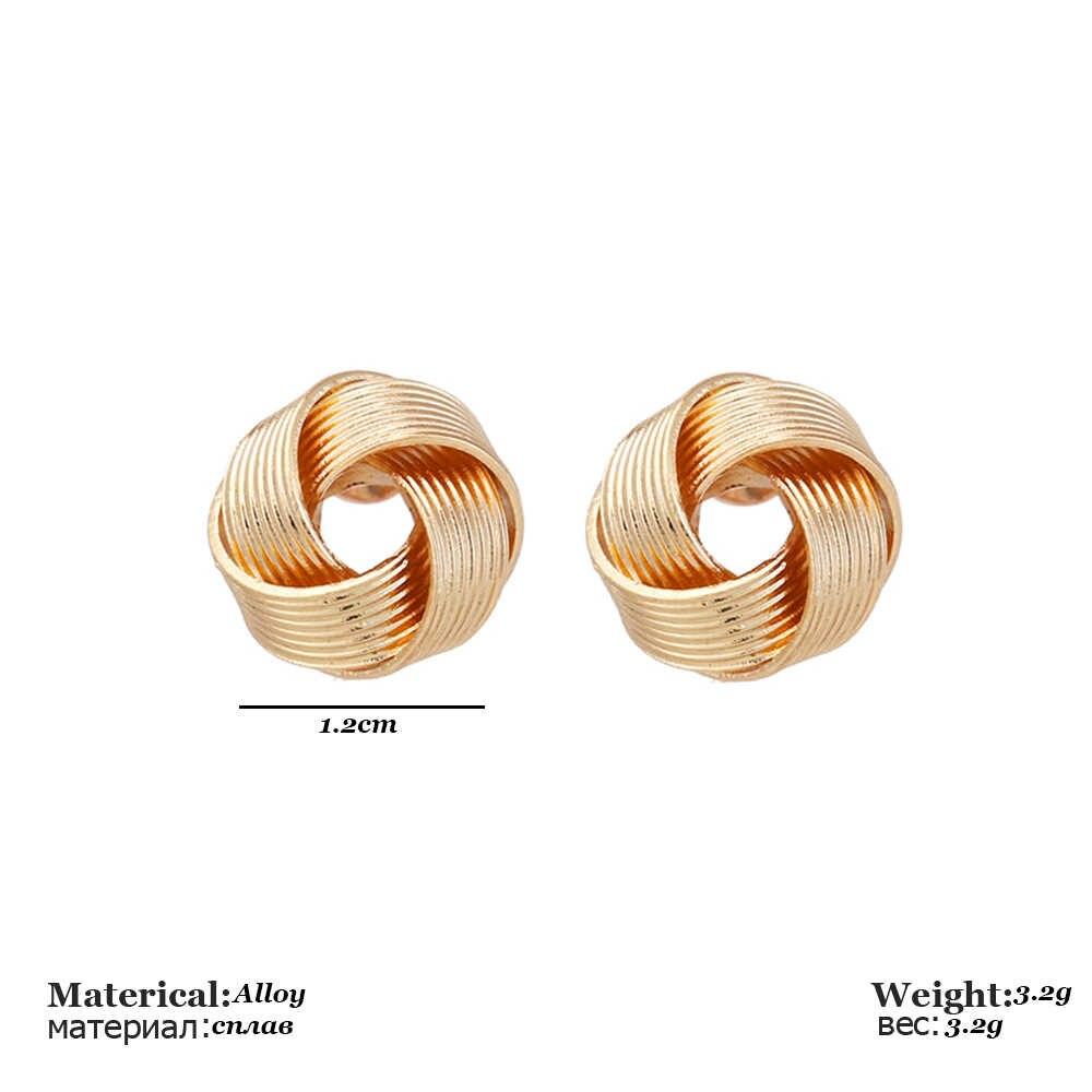 โลหะ Mini Stud ต่างหูสำหรับของขวัญผู้หญิงผู้หญิงที่ไม่ซ้ำกันสาน Ball Shape Stud ต่างหูผู้หญิงใหม่ต่างหูทองเครื่องประดับ