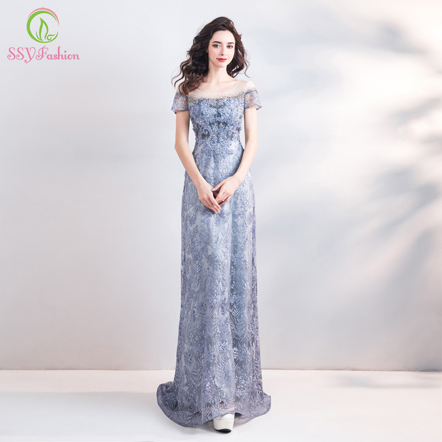 SSYFashion New Luxury Lace Mermaid Evening Dress Banquet Elegance Grey Blue  Embroidery Beading Fishtail Prom Gown Robe De Soiree 2de05be166e8