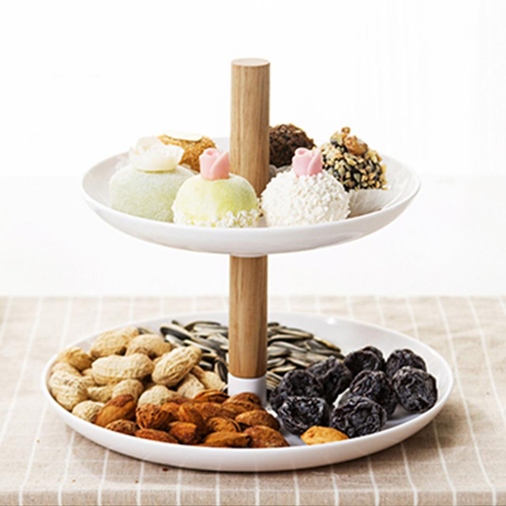 Innovadora Placa de fruta de doble capa sala de estar Simple cesta de alimentos portátil Multi-funcional hogar dulces Snack caja de almacenamiento