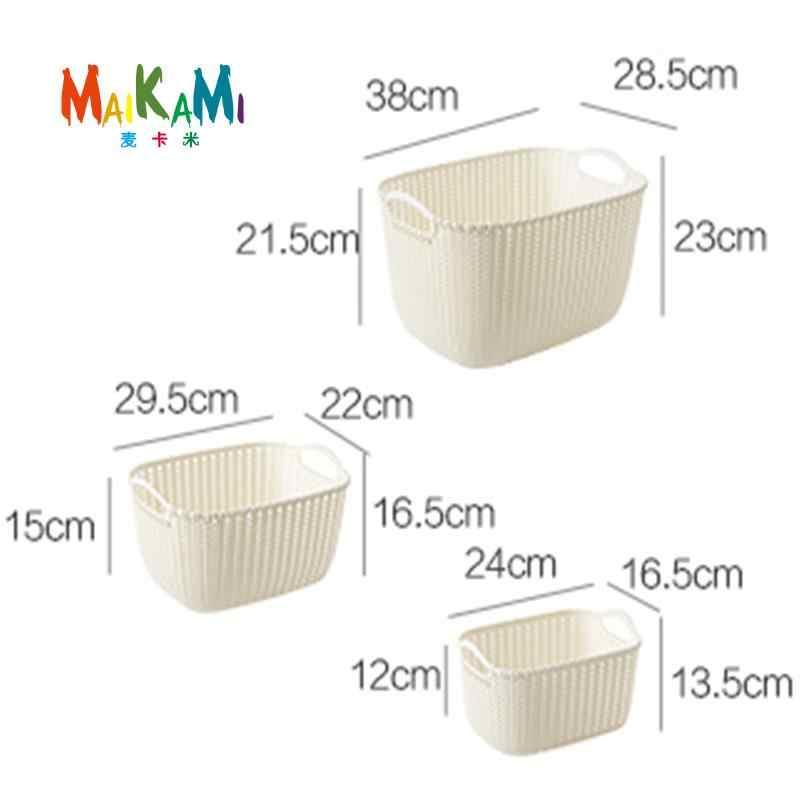 MAIKAMI Imitação de Vime Cesta de Armazenamento de Mesa Cesta De Armazenamento de Plástico Oco de Cozinha Lanche Caixa De Armazenamento Do Banheiro Cesta De Banho