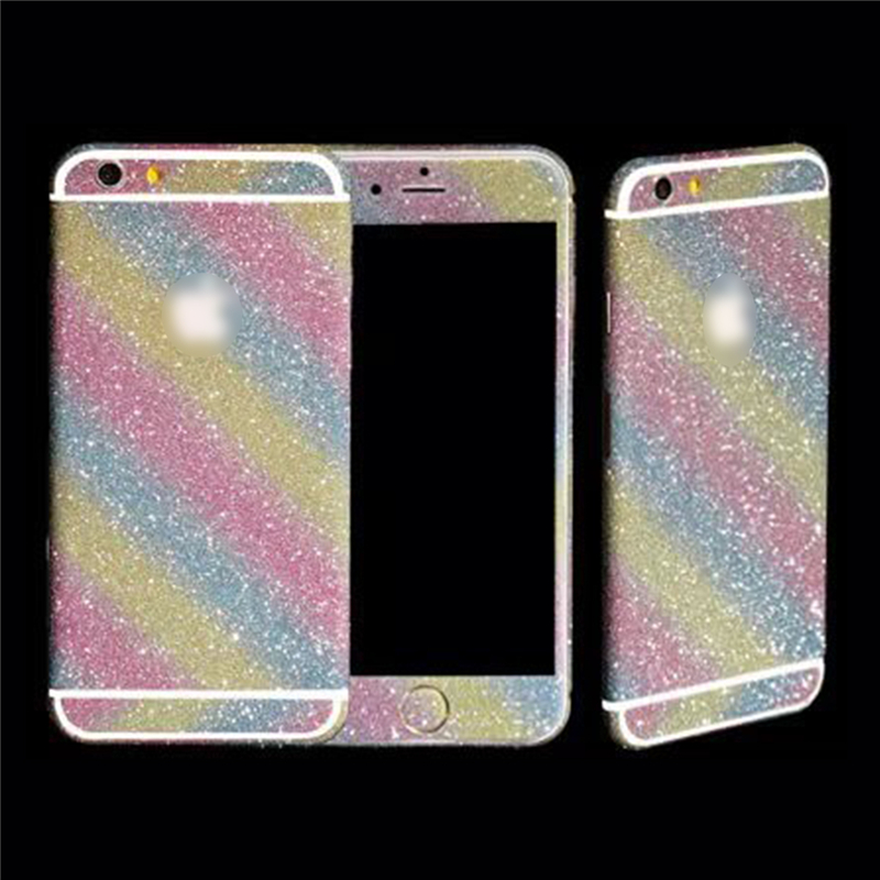 Full Body Glitter Luxury bling diamond colorful sticker case For Apple  iPhone 6 6s Plus 5 9d2cfc4a4e