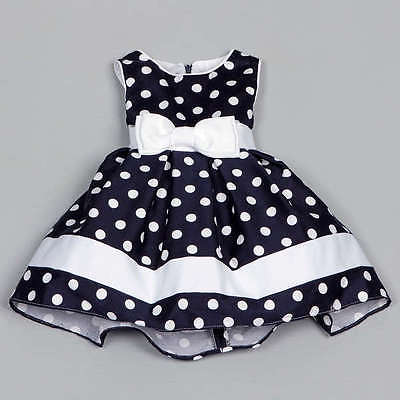 2016 Summer Chic Baby Kids Girls Flower Toddler Baby Polka Dot Princess Party Wedding Formal White Bow Pageant Tutu Dress 4-9Y